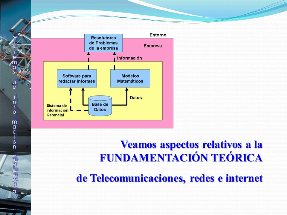 Veamos aspectos relativos a la FUNDAMENTACIÓN TEÓRICA Veamos aspectos relativos a la FUNDAMENTACIÓN TEÓRICA de Telecomunicaciones, redes e internet