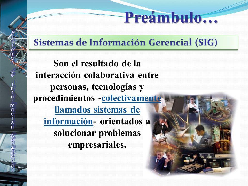 Preámbulo… Son el resultado de la interacción colaborativa entre personas, tecnologías y procedimientos -colectivamente llamados sistemas de informaci