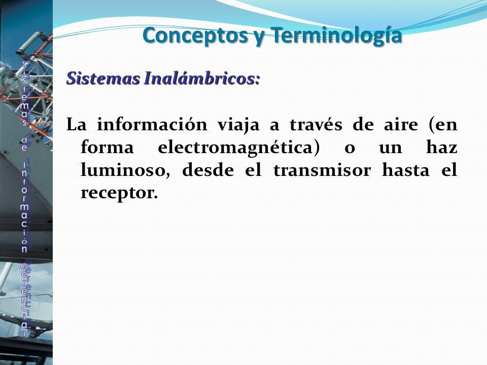 Sistemas Inalámbricos: La información viaja a través de aire (en forma electromagnética) o un haz luminoso, desde el transmisor hasta el receptor. Con