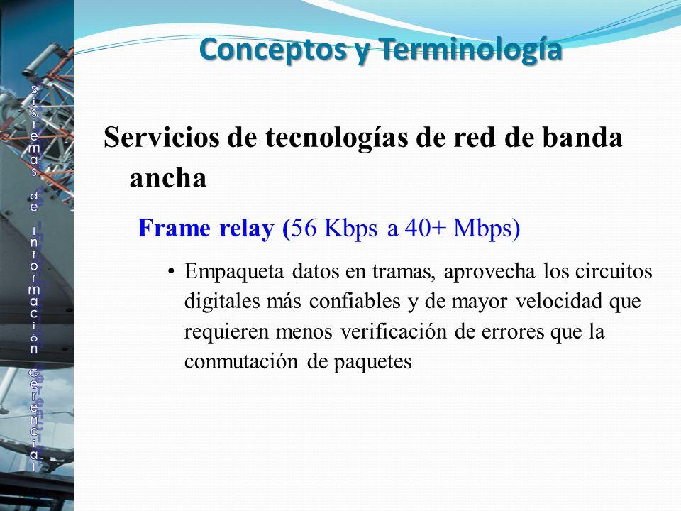 Servicios de tecnologías de red de banda ancha Frame relay (56 Kbps a 40+ Mbps) Empaqueta datos en tramas, aprovecha los circuitos digitales más confi