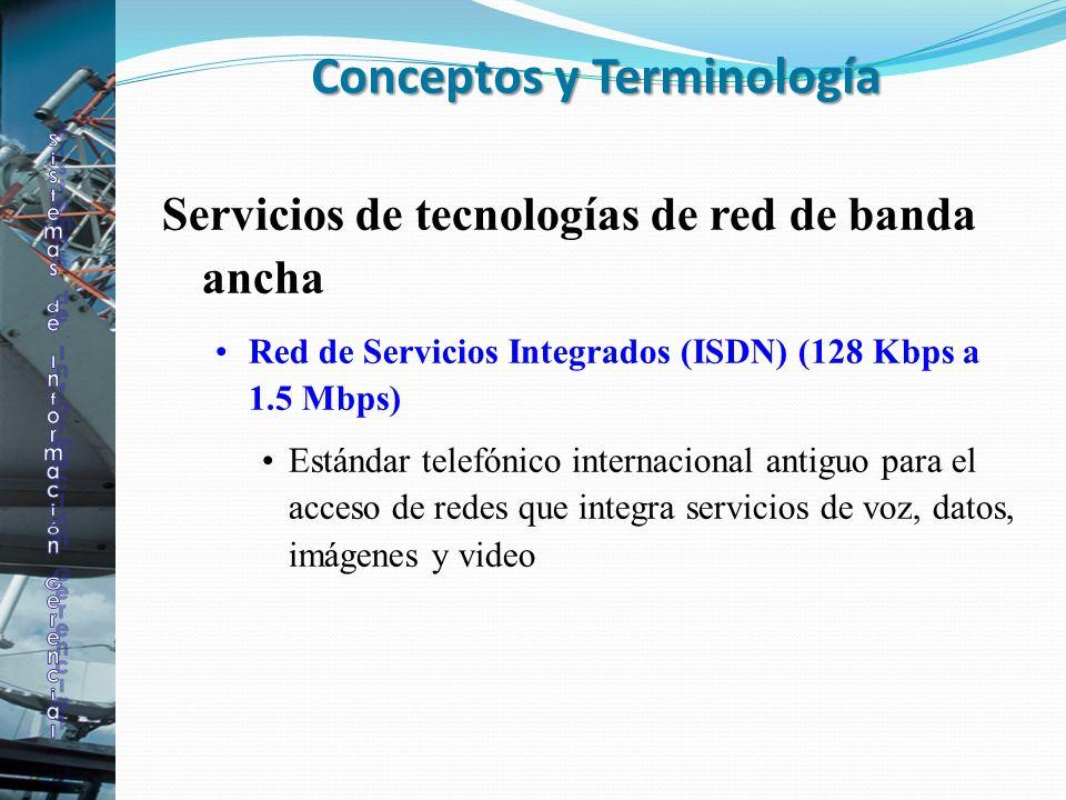 Servicios de tecnologías de red de banda ancha Red de Servicios Integrados (ISDN) (128 Kbps a 1.5 Mbps) Estándar telefónico internacional antiguo para