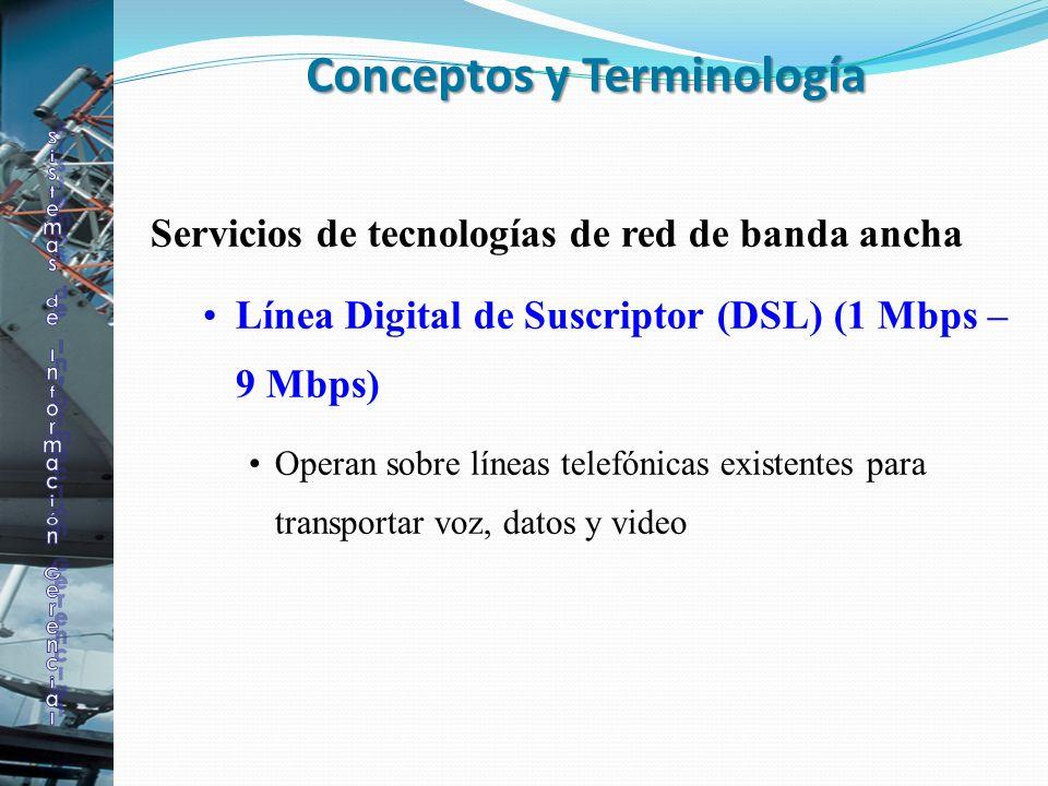 Servicios de tecnologías de red de banda ancha Línea Digital de Suscriptor (DSL) (1 Mbps – 9 Mbps) Operan sobre líneas telefónicas existentes para tra