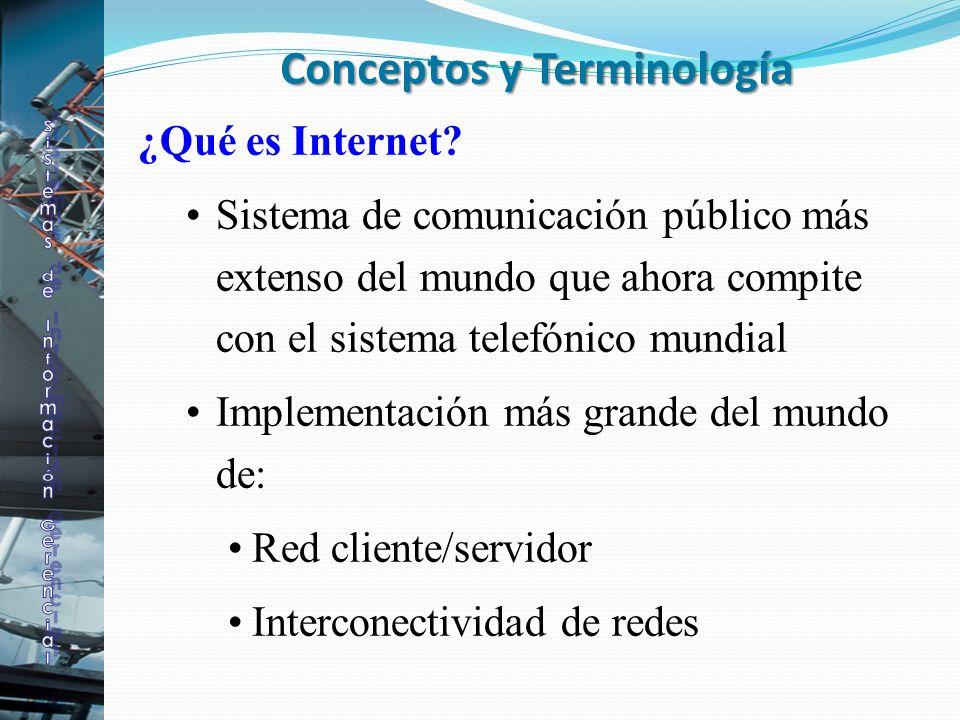 ¿Qué es Internet? Sistema de comunicación público más extenso del mundo que ahora compite con el sistema telefónico mundial Implementación más grande