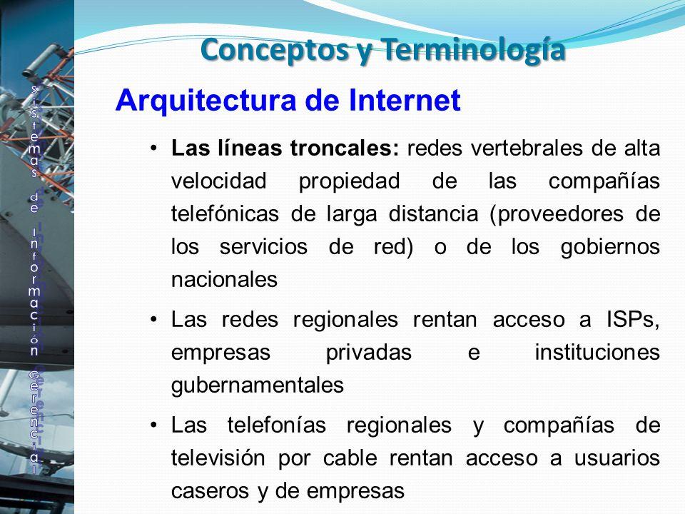 Arquitectura de Internet Las líneas troncales: redes vertebrales de alta velocidad propiedad de las compañías telefónicas de larga distancia (proveedo