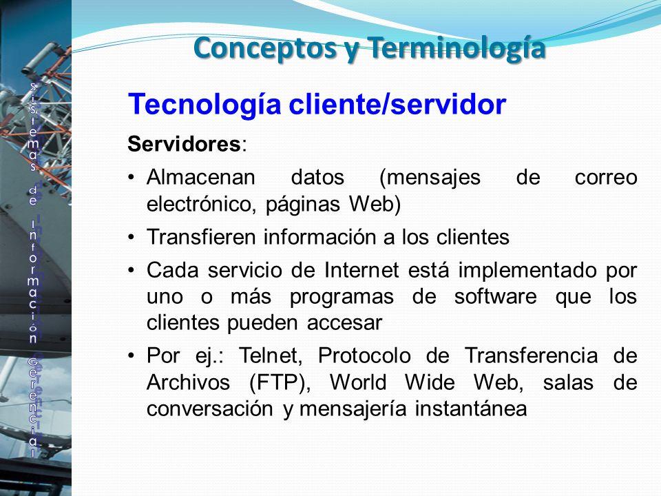 Tecnología cliente/servidor Servidores: Almacenan datos (mensajes de correo electrónico, páginas Web) Transfieren información a los clientes Cada serv
