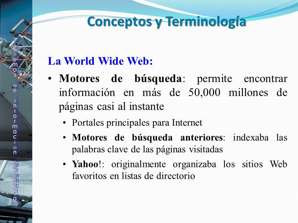 La World Wide Web: Motores de búsqueda: permite encontrar información en más de 50,000 millones de páginas casi al instante Portales principales para