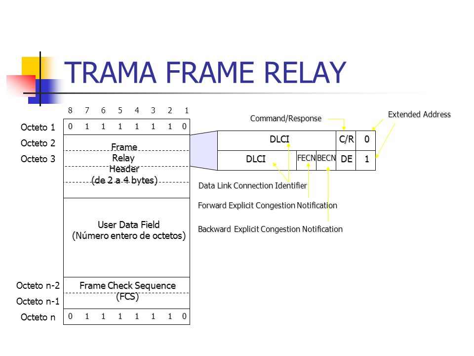 TRAMA FRAME RELAY 8 7 6 5 4 3 2 1 0 1 1 1 1 1 1 0 User Data Field (Número entero de octetos) Frame Check Sequence (FCS) FrameRelayHeader (de 2 a 4 byt
