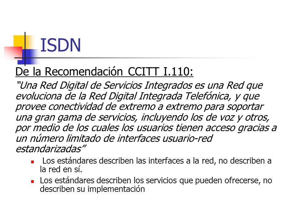 ISDN De la Recomendación CCITT I.110: Una Red Digital de Servicios Integrados es una Red que evoluciona de la Red Digital Integrada Telefónica, y que