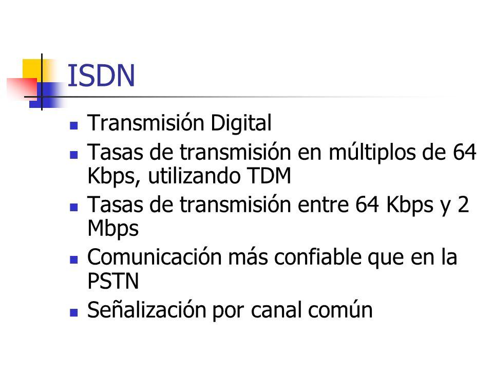 ISDN Transmisión Digital Tasas de transmisión en múltiplos de 64 Kbps, utilizando TDM Tasas de transmisión entre 64 Kbps y 2 Mbps Comunicación más con