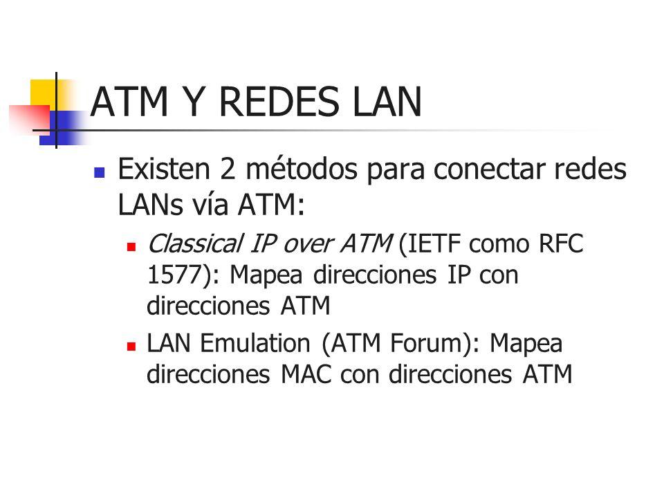ATM Y REDES LAN Existen 2 métodos para conectar redes LANs vía ATM: Classical IP over ATM (IETF como RFC 1577): Mapea direcciones IP con direcciones A