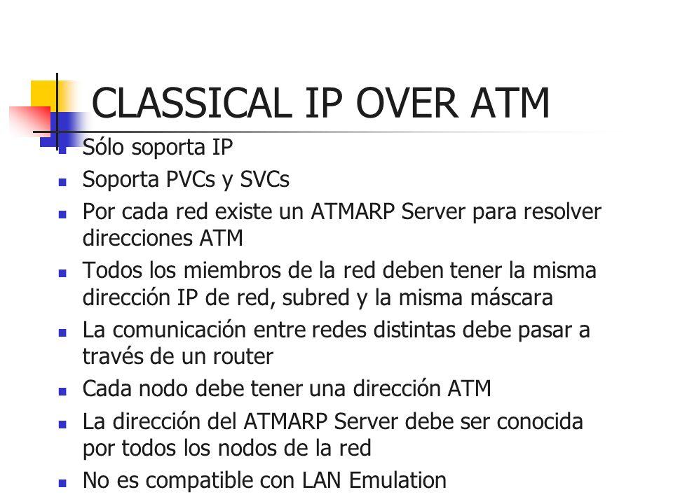 CLASSICAL IP OVER ATM Sólo soporta IP Soporta PVCs y SVCs Por cada red existe un ATMARP Server para resolver direcciones ATM Todos los miembros de la