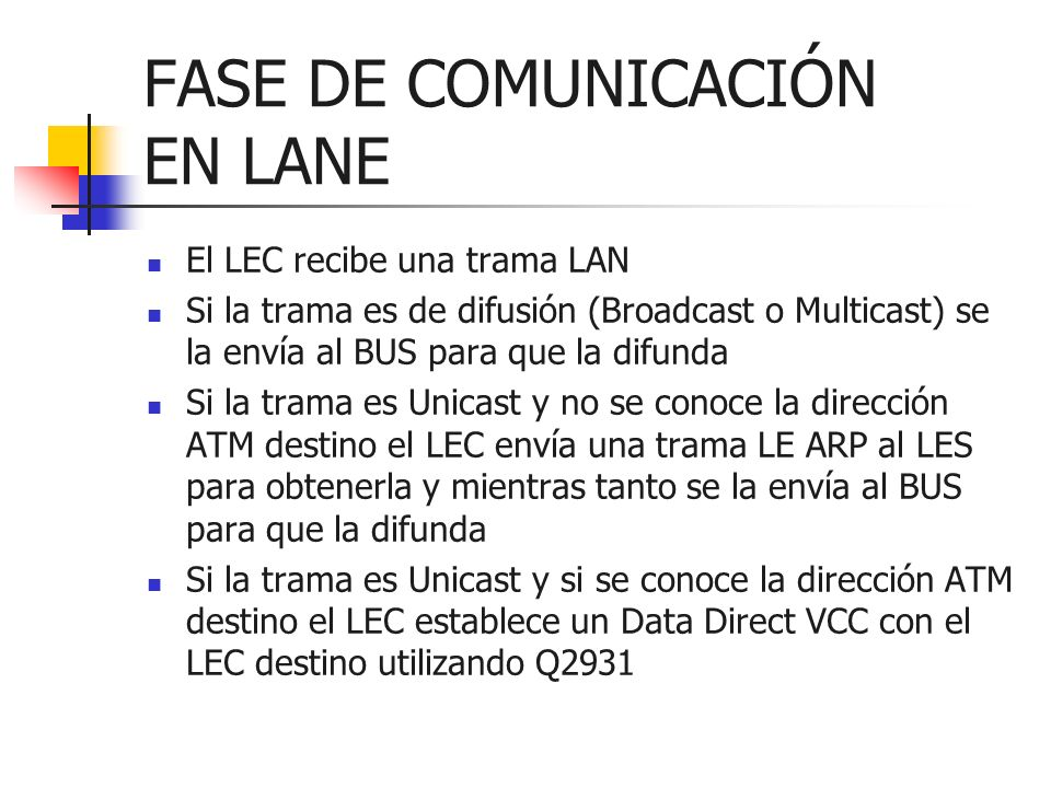 FASE DE COMUNICACIÓN EN LANE El LEC recibe una trama LAN Si la trama es de difusión (Broadcast o Multicast) se la envía al BUS para que la difunda Si