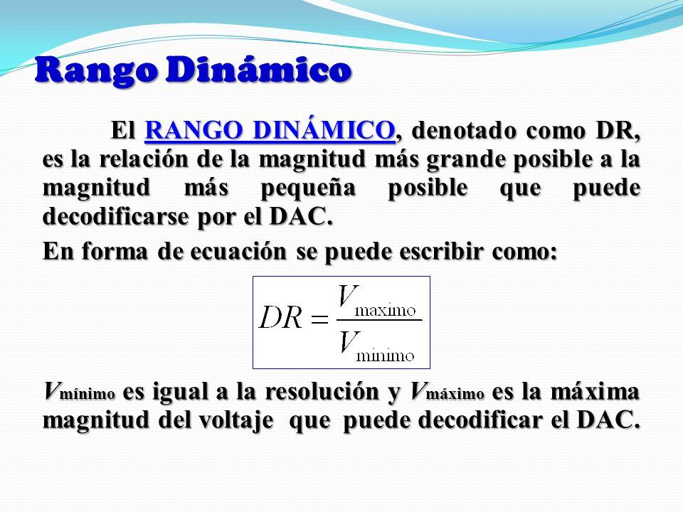 Rango Dinámico El RANGO DINÁMICO, denotado como DR, es la relación de la magnitud más grande posible a la magnitud más pequeña posible que puede decod