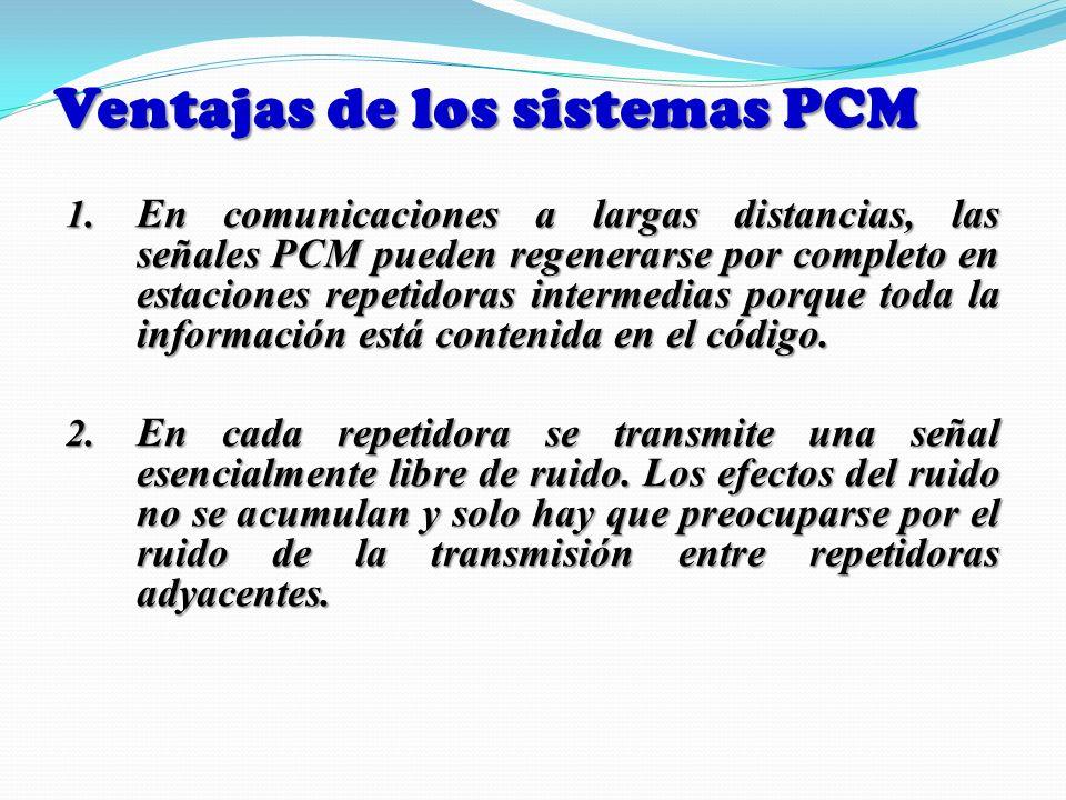Ventajas de los sistemas PCM 1. En comunicaciones a largas distancias, las señales PCM pueden regenerarse por completo en estaciones repetidoras inter