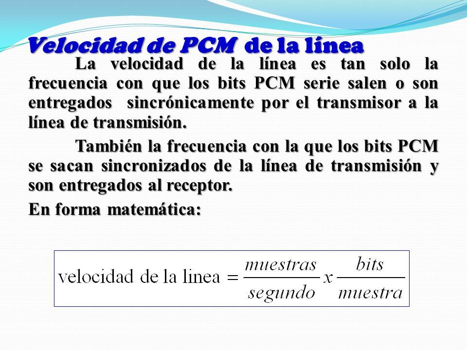 Velocidad de PCM de la línea La velocidad de la línea es tan solo la frecuencia con que los bits PCM serie salen o son entregados sincrónicamente por