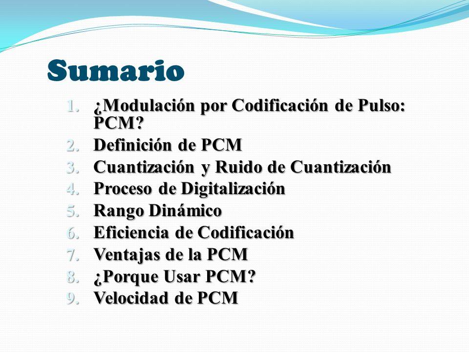 RENDIMIENTO DE UN SISTEMA PCM CON CUANTIZACIÓN UNIFORME Y SIN RUIDO EN EL CANAL Número de niveles del cuantizador, M Longitud de la palabra PCM, n Bits Ancho de banda de la señal PCM Relaciones de ruido de cuantización a potencia de señal analógica recuperada (dB) (S/N) pico de salida (S/N) salida 212B10.86.0 424B16.812.0 836B22.818.1 1648B28.924.1 32510B34.930.1 64612B40.936.1 128714B46.942.1 256816B52.948.2 512918B59.054.2 10241020B65.060.2 20481122B71.066.2 40961224B77.072.2 81921326B83.078.3 163841428B89.184.3 327681530B95.1190.3 655361632B101.196.3