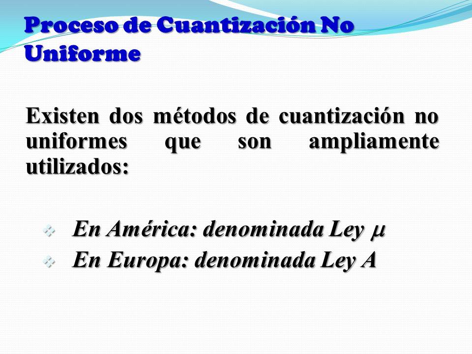 Proceso de Cuantización No Uniforme Existen dos métodos de cuantización no uniformes que son ampliamente utilizados: En América: denominada Ley En Amé