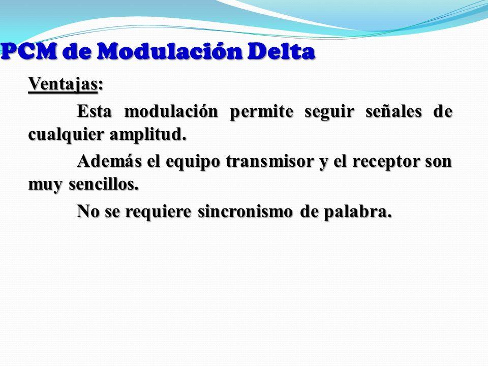 PCM de Modulación Delta Ventajas: Esta modulación permite seguir señales de cualquier amplitud. Además el equipo transmisor y el receptor son muy senc