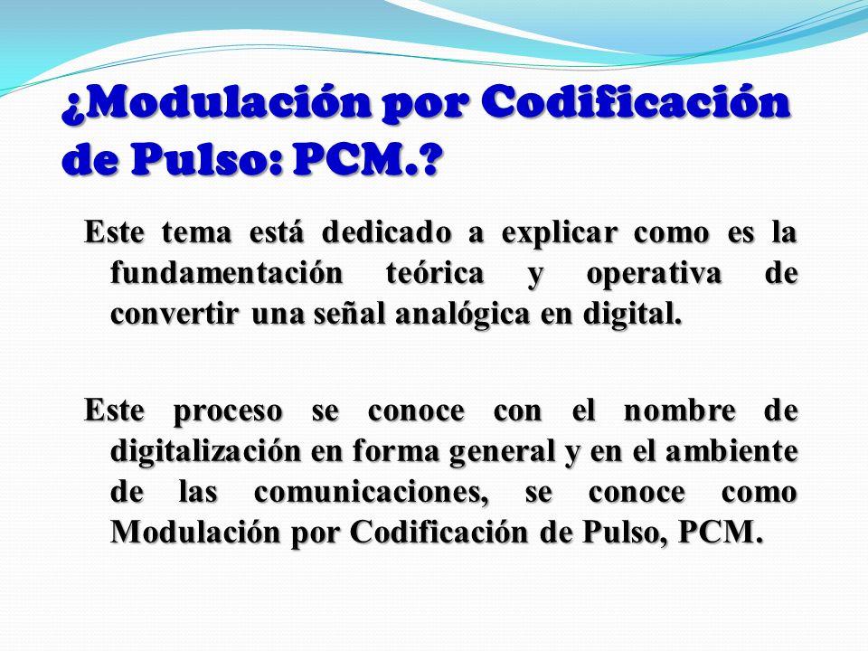 Definición de Modulación por Codificación de Pulso En este tipo de modulación primero se cuantifica la señal usando PAM, y luego se usa un código para designar cada nivel en cada tiempo de muestreo.