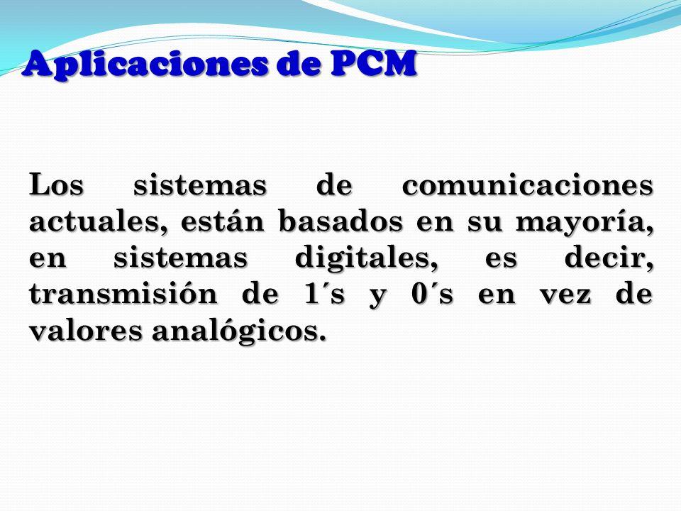 Aplicaciones de PCM Los sistemas de comunicaciones actuales, están basados en su mayoría, en sistemas digitales, es decir, transmisión de 1´s y 0´s en