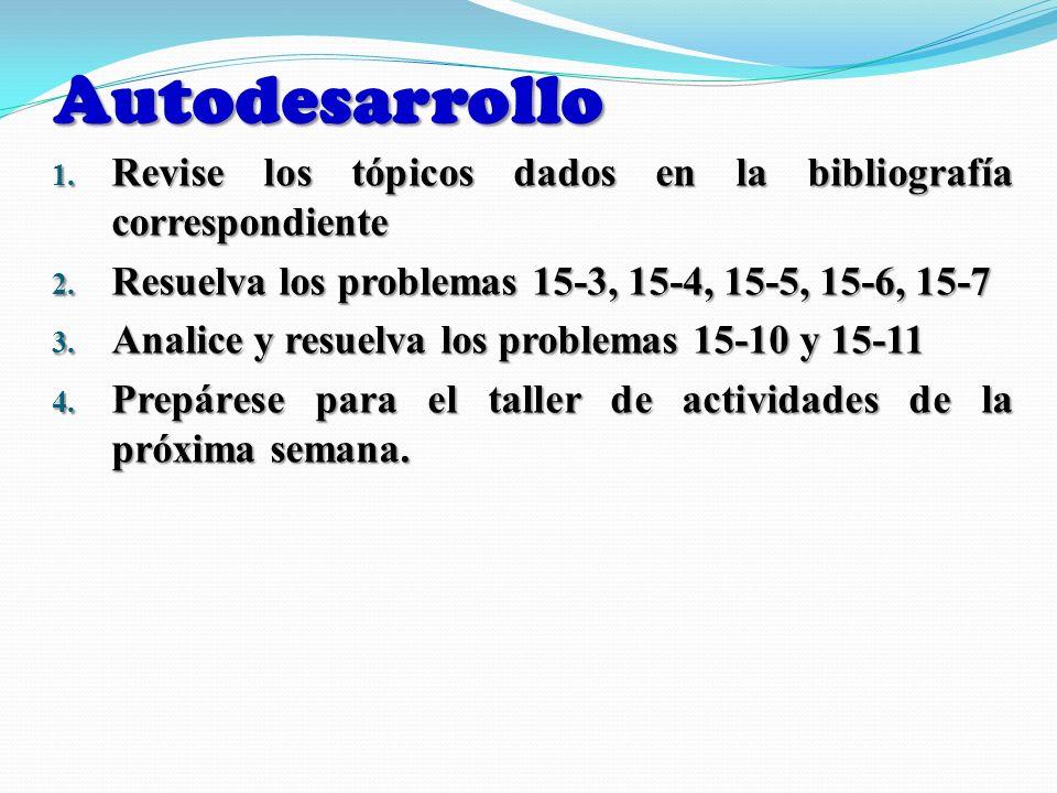 Autodesarrollo 1. Revise los tópicos dados en la bibliografía correspondiente 2. Resuelva los problemas 15-3, 15-4, 15-5, 15-6, 15-7 3. Analice y resu