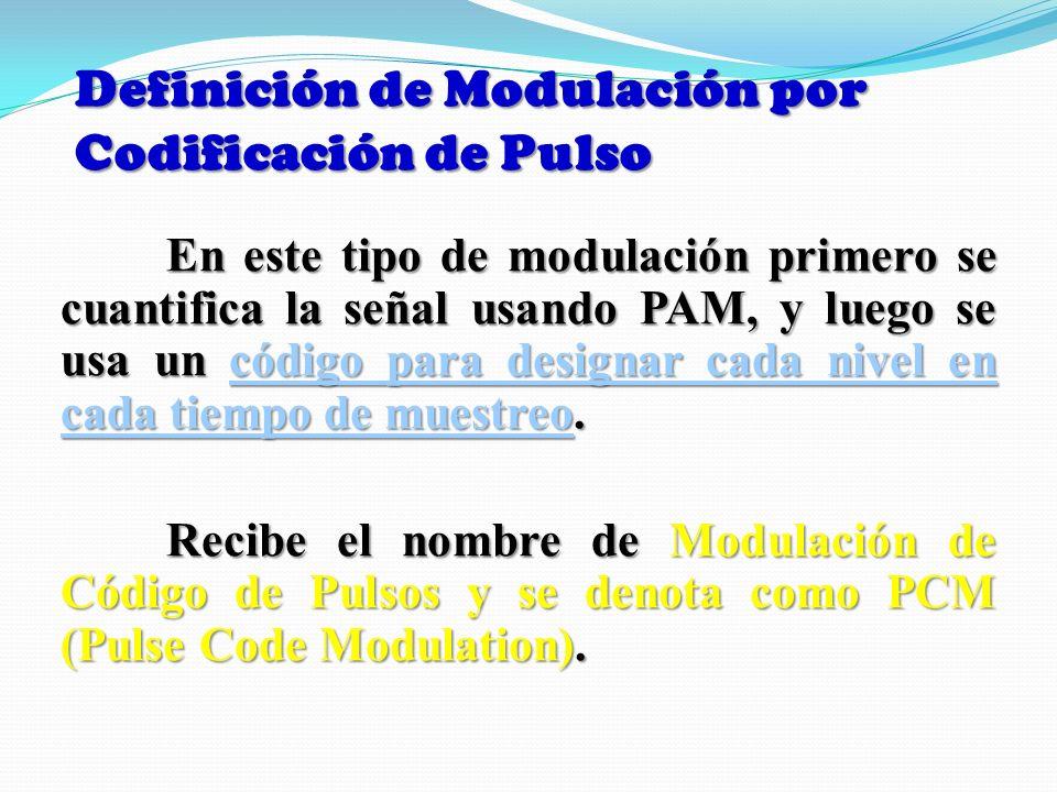 Definición de Modulación por Codificación de Pulso En este tipo de modulación primero se cuantifica la señal usando PAM, y luego se usa un código para