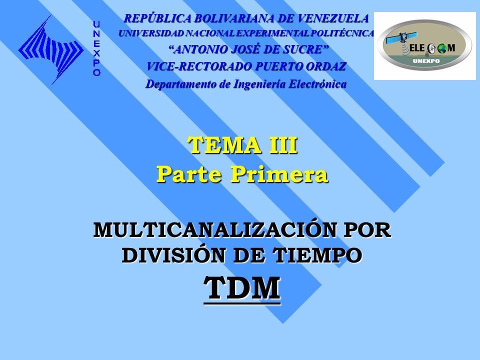 TEMA III Parte Primera MULTICANALIZACIÓN POR DIVISIÓN DE TIEMPO TDM REPÚBLICA BOLIVARIANA DE VENEZUELA UNIVERSIDAD NACIONAL EXPERIMENTAL POLITÉCNICA A