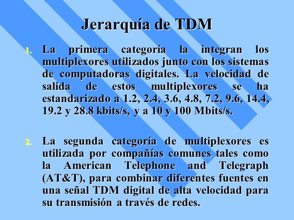 Jerarquía de TDM 1. La primera categoría la integran los multiplexores utilizados junto con los sistemas de computadoras digitales. La velocidad de sa