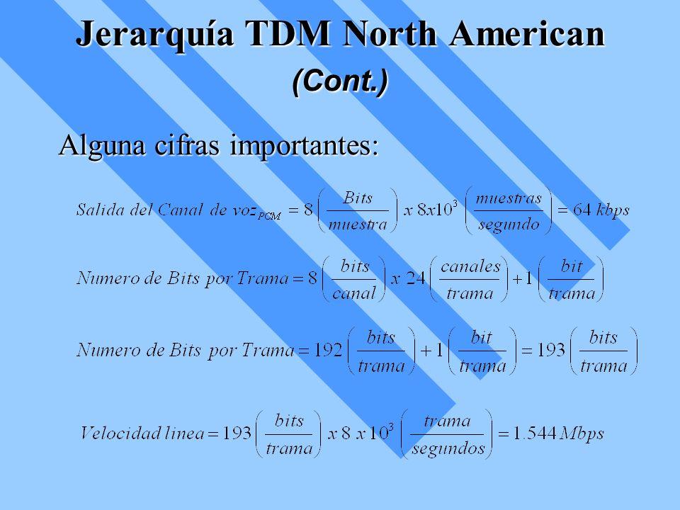Jerarquía TDM North American (Cont.) Alguna cifras importantes:
