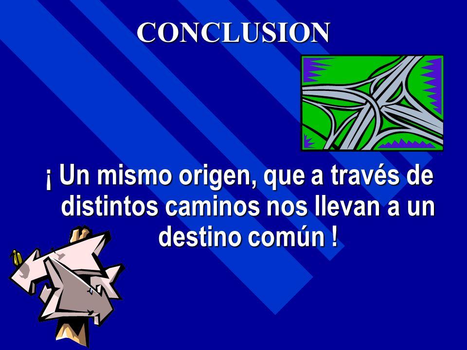 CONCLUSION ¡ Un mismo origen, que a través de distintos caminos nos llevan a un destino común !