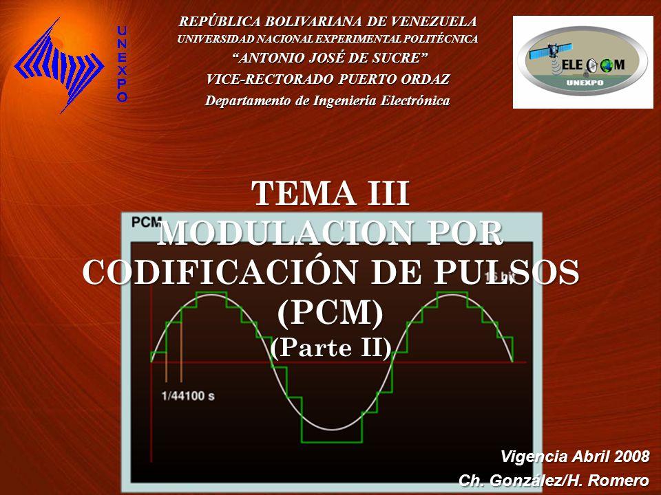 Indice: 1.Modulación por Codificación de Pulso: PCM 2.Cuantización y Ruido de Cuantización 3.Ventajas de la PCM 4.Circuitos Prácticos y Generación de PCM 5.Descodificación sub-óptima 6.Ancho de banda de PCM 7.Efectos del ruido en PCM 8.Proceso de Cuantización no uniforme