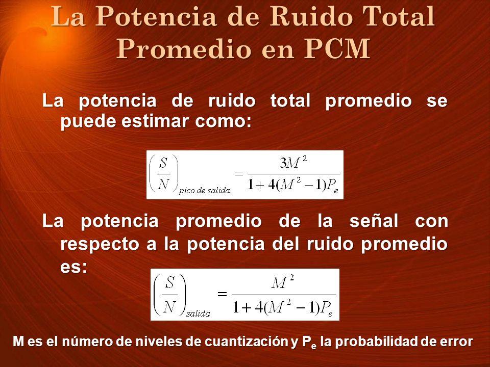 La Potencia de Ruido Total Promedio en PCM La Potencia de Ruido Total Promedio en PCM La potencia de ruido total promedio se puede estimar como: La po