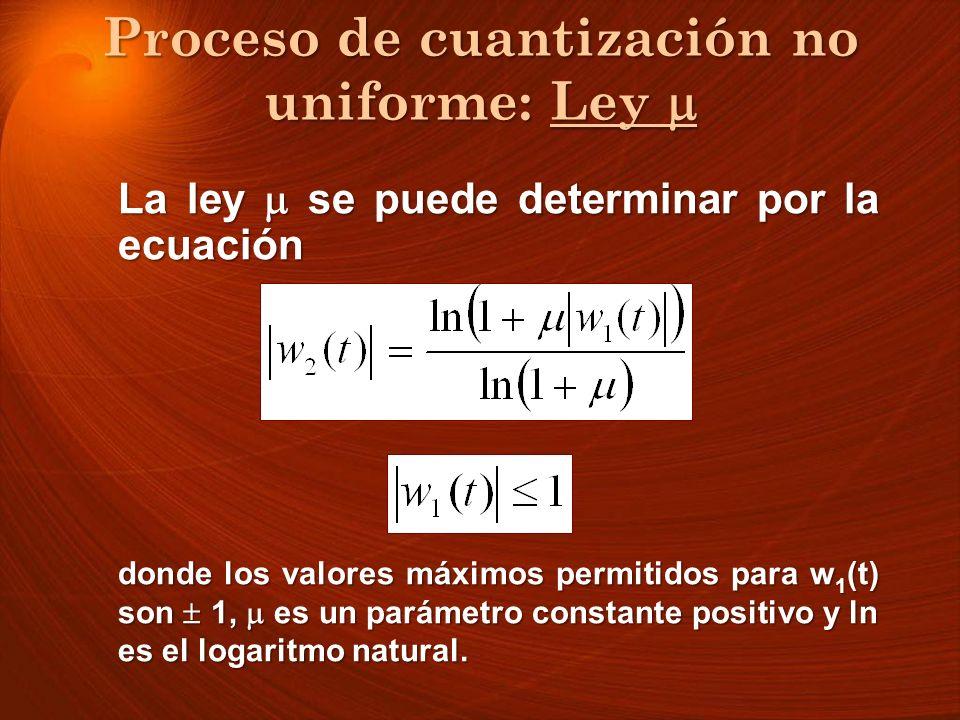 Proceso de cuantización no uniforme: Ley Proceso de cuantización no uniforme: Ley La ley se puede determinar por la ecuación donde los valores máximos
