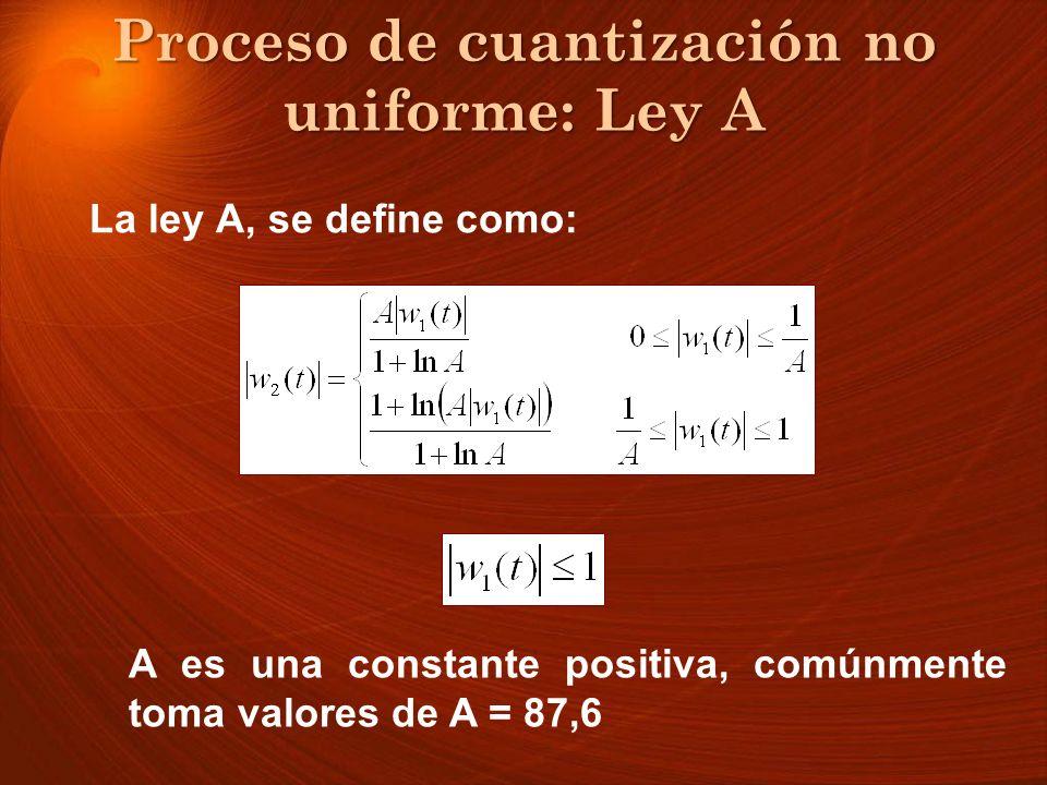 Proceso de cuantización no uniforme: Ley A La ley A, se define como: A es una constante positiva, comúnmente toma valores de A = 87,6