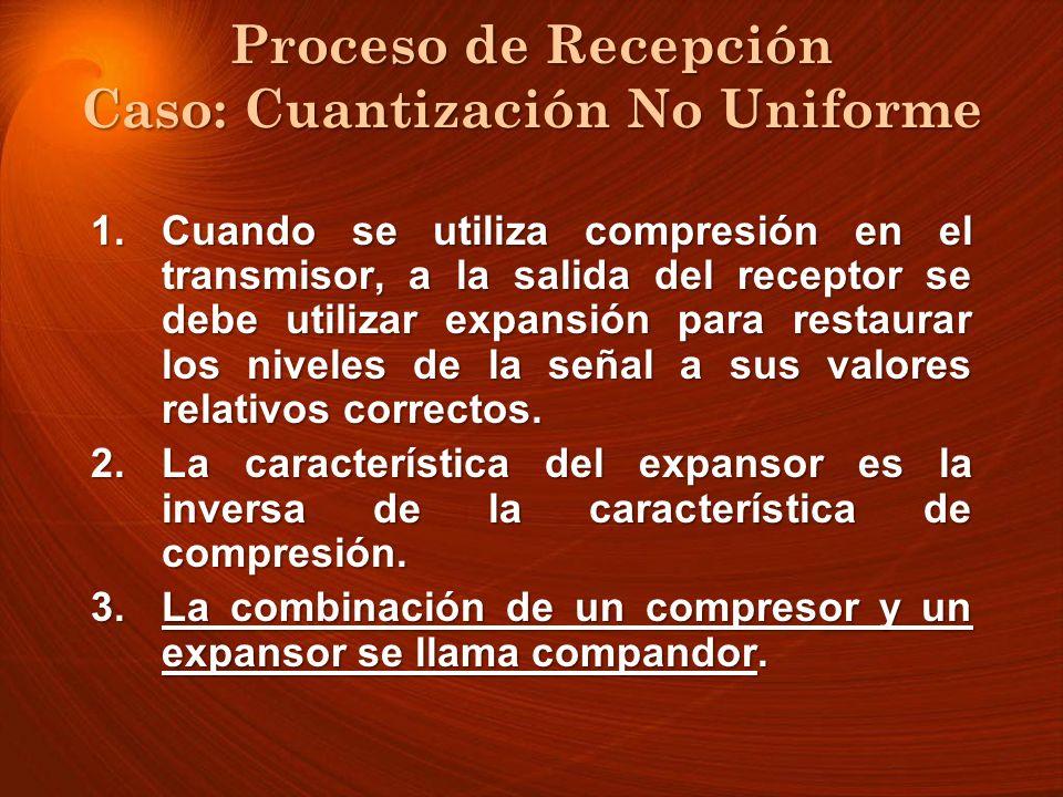 Proceso de Recepción Caso: Cuantización No Uniforme 1.Cuando se utiliza compresión en el transmisor, a la salida del receptor se debe utilizar expansi
