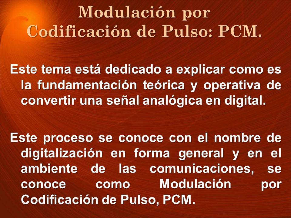 En este tipo de modulación no solo se cuantifica la señal, sino que se usa un código para designar cada nivel en cada tiempo de muestreo, por lo cual recibe el nombre de Modulación de Código de Pulsos y se denota como PCM (Pulse Code Modulation).