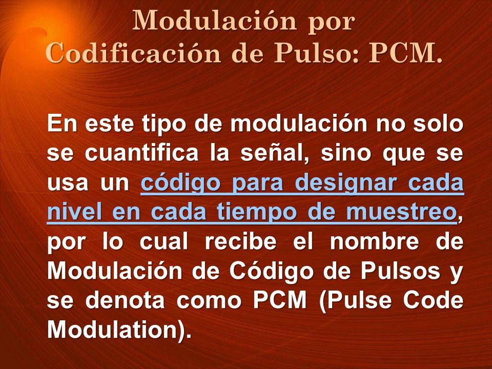 En este tipo de modulación no solo se cuantifica la señal, sino que se usa un código para designar cada nivel en cada tiempo de muestreo, por lo cual