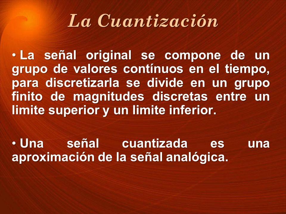 La Cuantización La señal original se compone de un grupo de valores contínuos en el tiempo, para discretizarla se divide en un grupo finito de magnitu