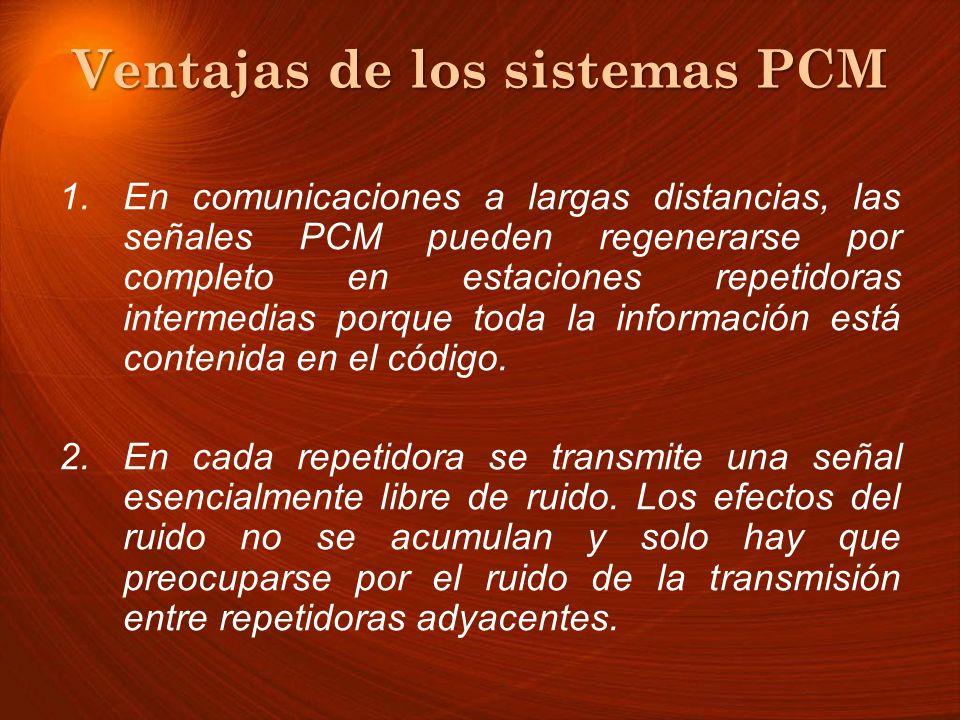 Ventajas de los sistemas PCM 1.En comunicaciones a largas distancias, las señales PCM pueden regenerarse por completo en estaciones repetidoras interm