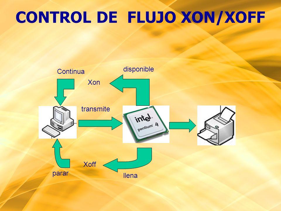 llena Xoff Xon disponible transmite parar Continua CONTROL DE FLUJO XON/XOFF