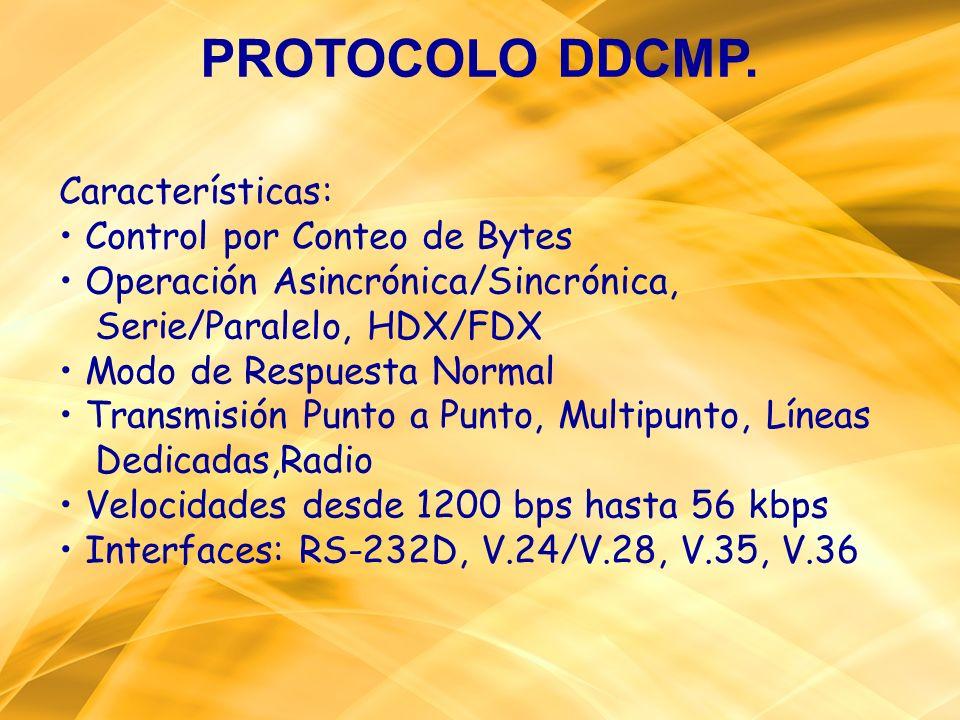 PROTOCOLO DDCMP. Características: Control por Conteo de Bytes Operación Asincrónica/Sincrónica, Serie/Paralelo, HDX/FDX Modo de Respuesta Normal Trans