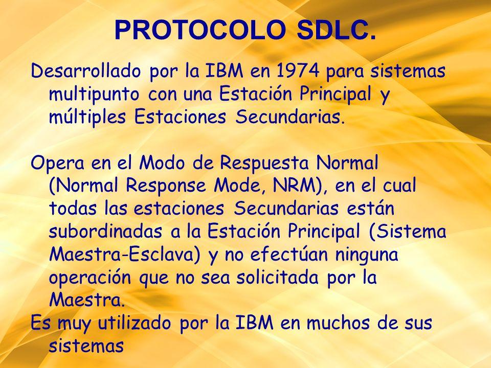 PROTOCOLO SDLC. Desarrollado por la IBM en 1974 para sistemas multipunto con una Estación Principal y múltiples Estaciones Secundarias. Opera en el Mo
