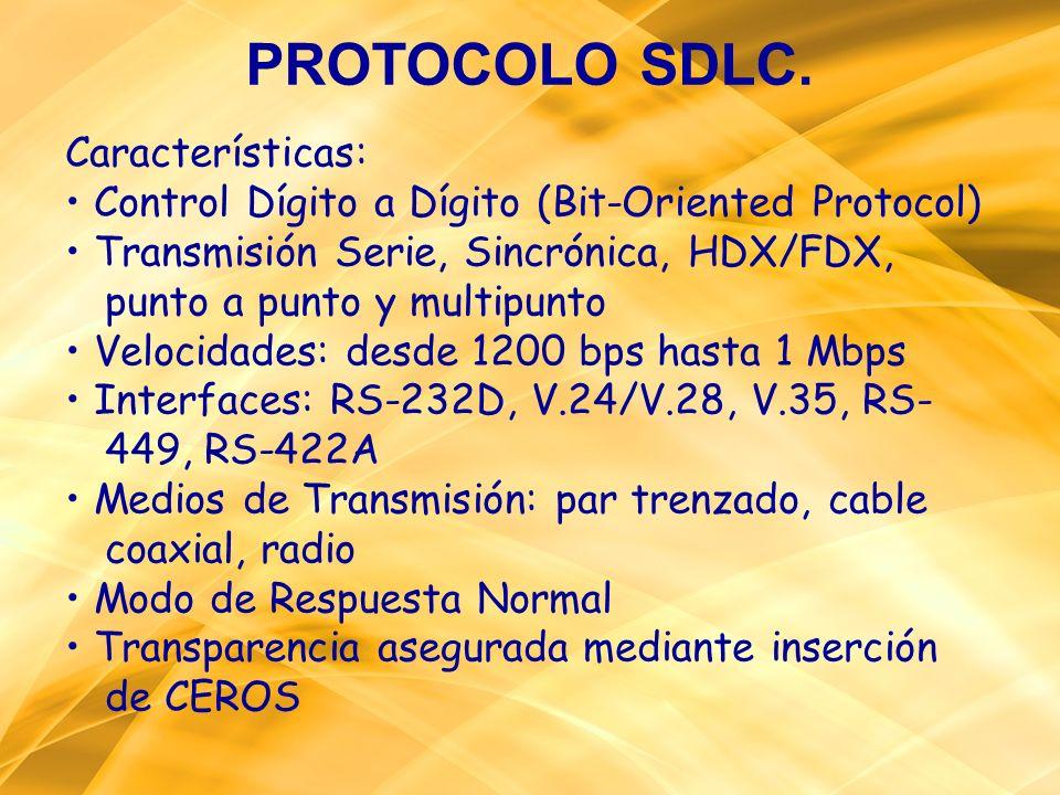 PROTOCOLO SDLC. Características: Control Dígito a Dígito (Bit-Oriented Protocol) Transmisión Serie, Sincrónica, HDX/FDX, punto a punto y multipunto Ve