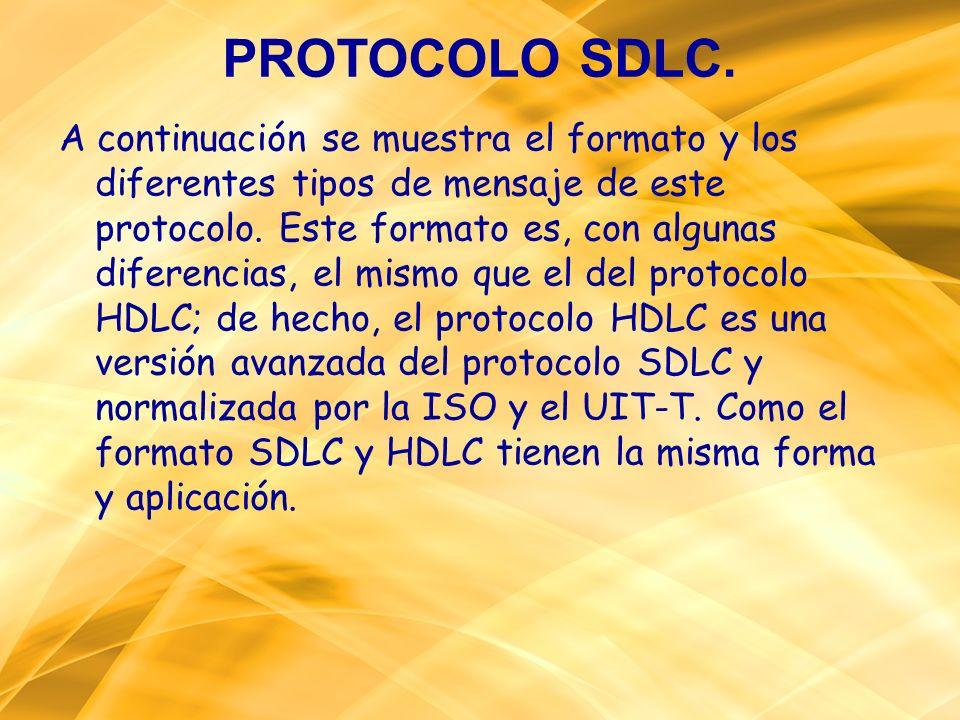 PROTOCOLO SDLC. A continuación se muestra el formato y los diferentes tipos de mensaje de este protocolo. Este formato es, con algunas diferencias, el