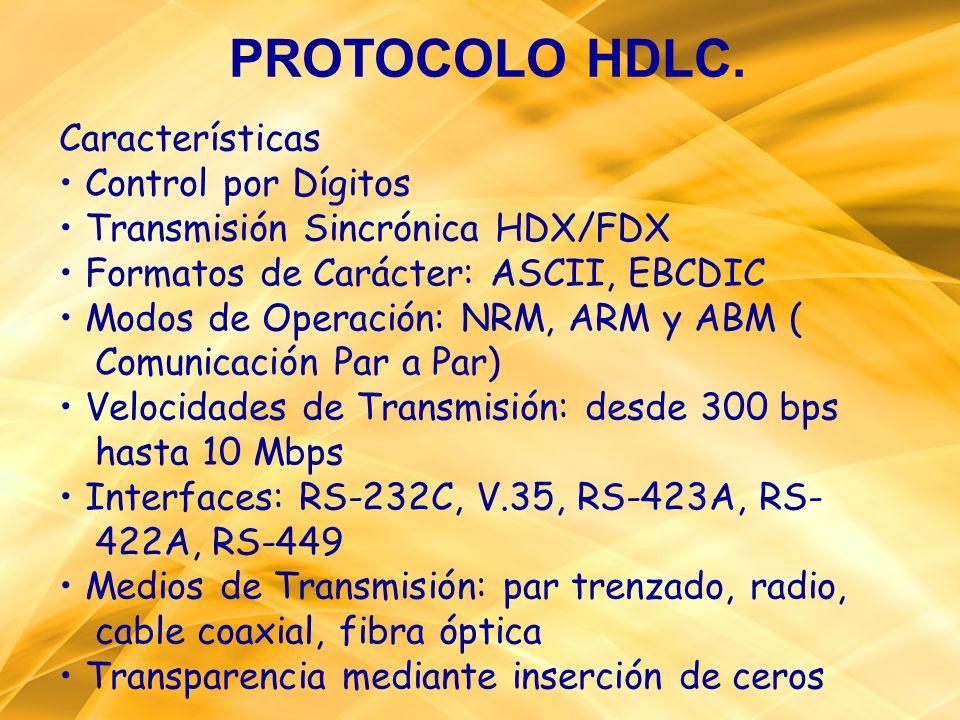 PROTOCOLO HDLC. Características Control por Dígitos Transmisión Sincrónica HDX/FDX Formatos de Carácter: ASCII, EBCDIC Modos de Operación: NRM, ARM y