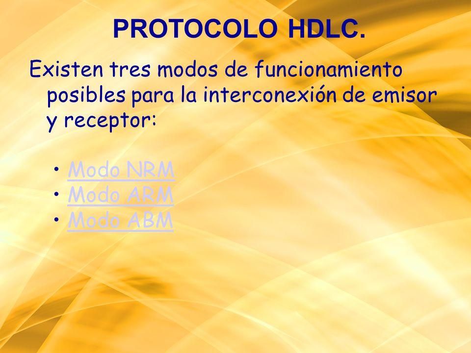 Existen tres modos de funcionamiento posibles para la interconexión de emisor y receptor: Modo NRM Modo ARM Modo ABM PROTOCOLO HDLC.