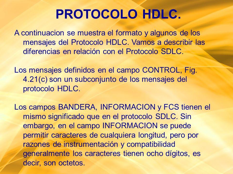 A continuacion se muestra el formato y algunos de los mensajes del Protocolo HDLC. Vamos a describir las diferencias en relación con el Protocolo SDLC