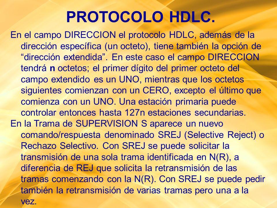 PROTOCOLO HDLC. En el campo DIRECCION el protocolo HDLC, además de la dirección específica (un octeto), tiene también la opción de dirección extendida