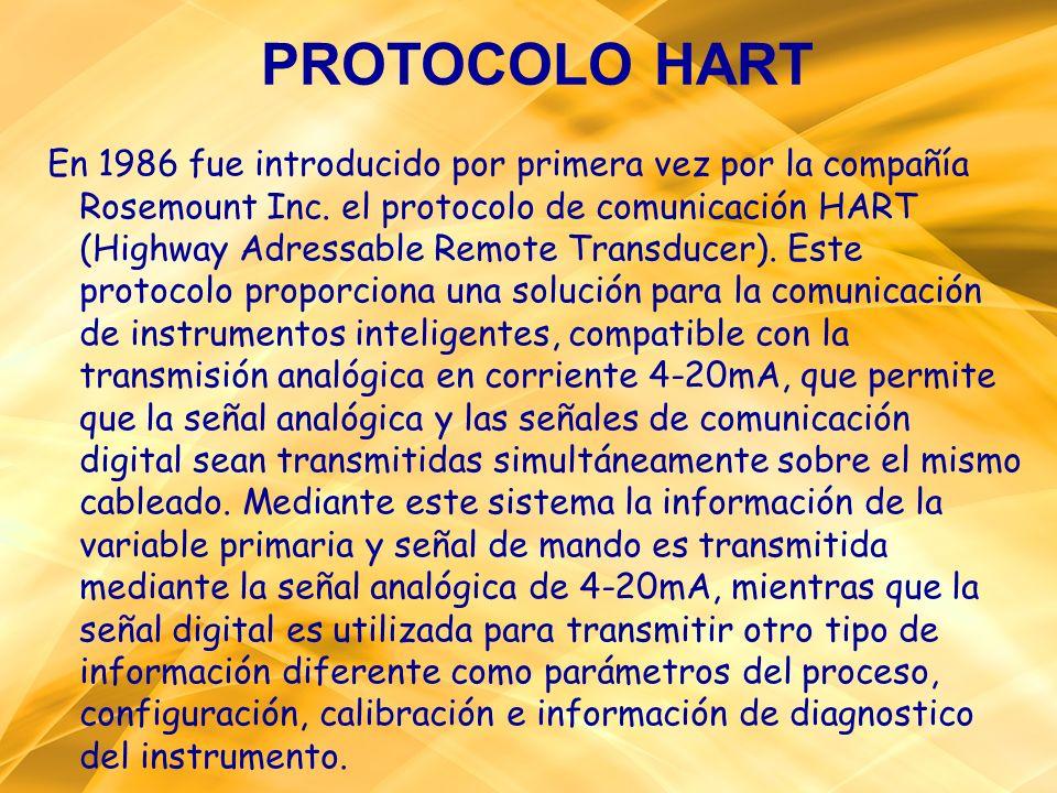 PROTOCOLO HART En 1986 fue introducido por primera vez por la compañía Rosemount Inc. el protocolo de comunicación HART (Highway Adressable Remote Tra