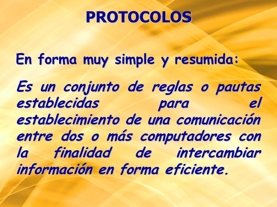 PROTOCOLOS En forma muy simple y resumida: Es un conjunto de reglas o pautas establecidas para el establecimiento de una comunicación entre dos o más